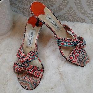 Jimmy Choo Patterned Fabric Kitten Heel Size 7.5
